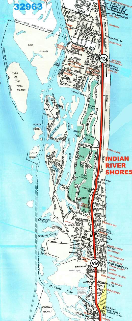 Town limit street map of Indian River Shores