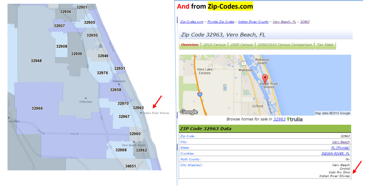 Florida map showing delineation of zip codes on the east coast.